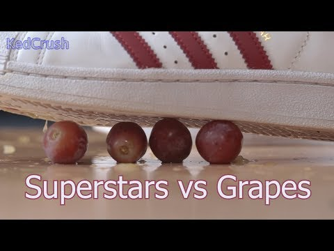White and purple adidas superstars vs grapes