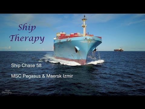 Ship Chase 58 - MSC Pegasus & Maersk Izmir - Opposing movements at port's entrance - Mavic Pro in 4K