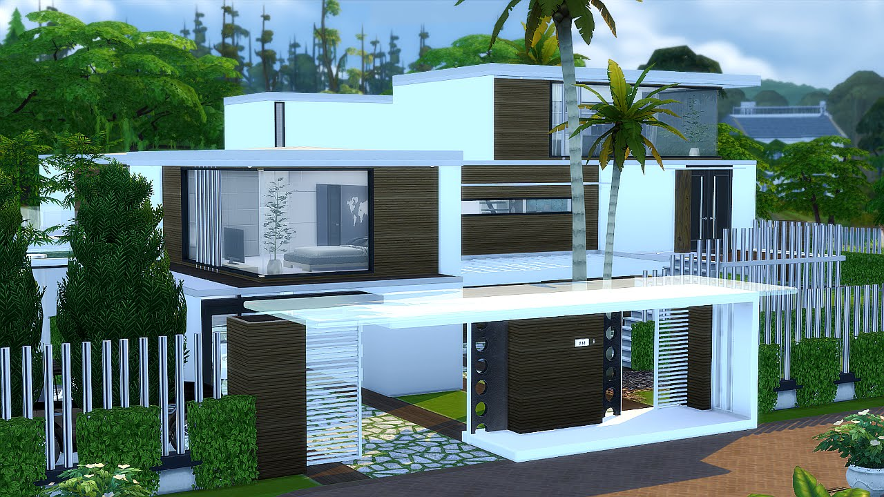 Best modern house the sims 4 villa mansion youtube for Modernes haus sims 4