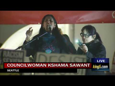 "Kshama Sawant at Seattle's J20 ""Resist Trump"" Mass Rally"