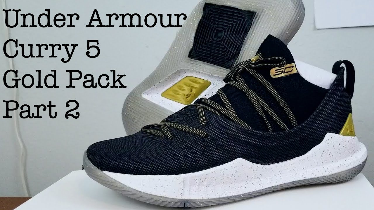 8f214689 Under Armour Curry 5 - Gold Pack Black - Steph's NBA Finals sneaker  Comparison with White