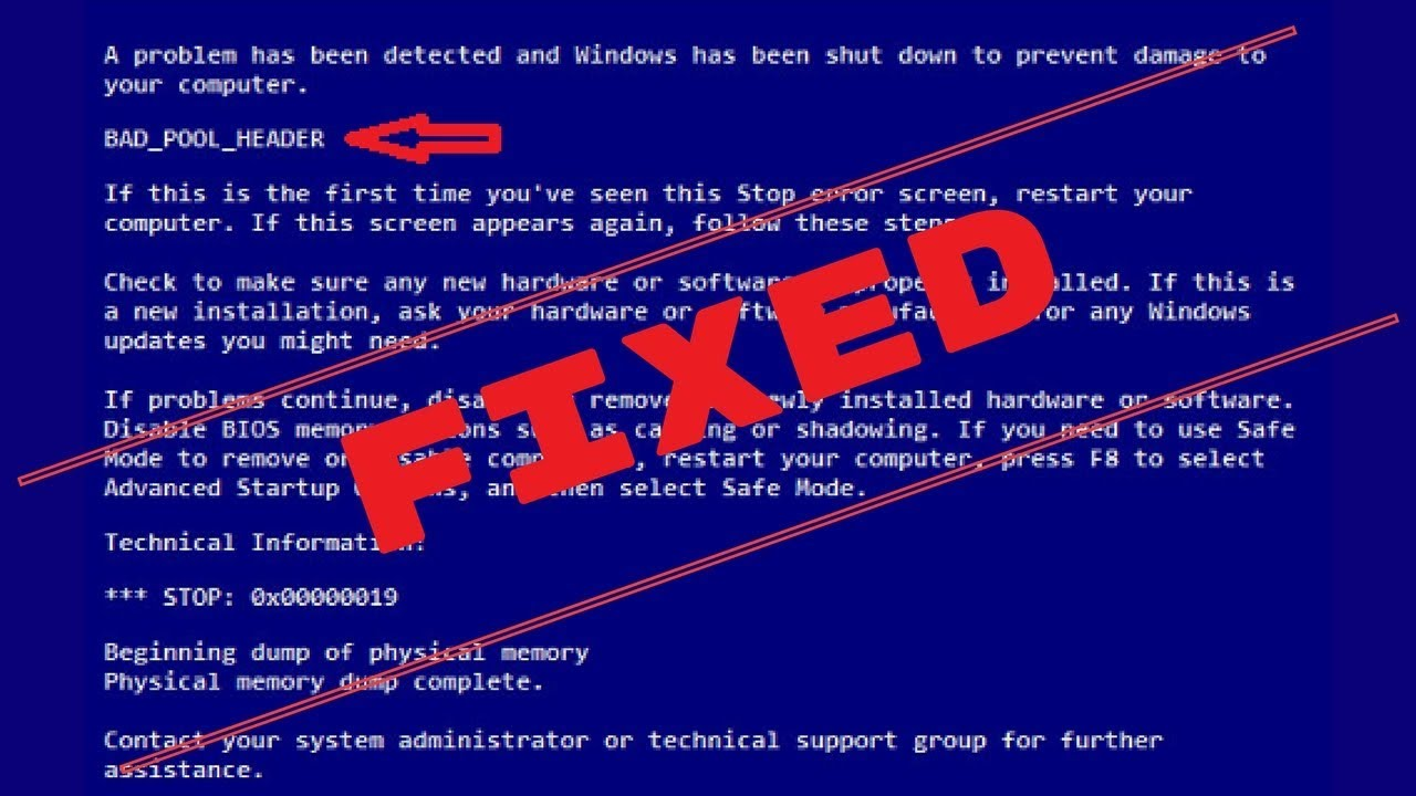 Bad_Pool_Header Error in Windows 7/8/8 1/10 [FIXED IN SECONDS]