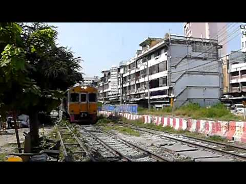 Railway Crossing In Busy Bangkok Thailand