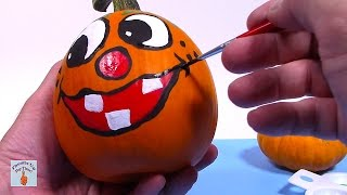 Painted Pumpkins + Pumpkin Painting Ideas + Painted Pumpkin Faces + Halloween Crafts