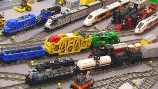 My LEGO Trains in action! ? 45 locomotives & cars ?