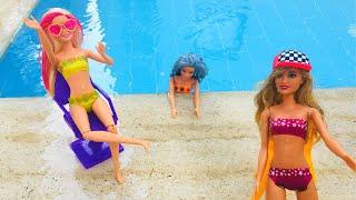 barbe bebekler havuz parts ocuklar in elenceli havuz videolar