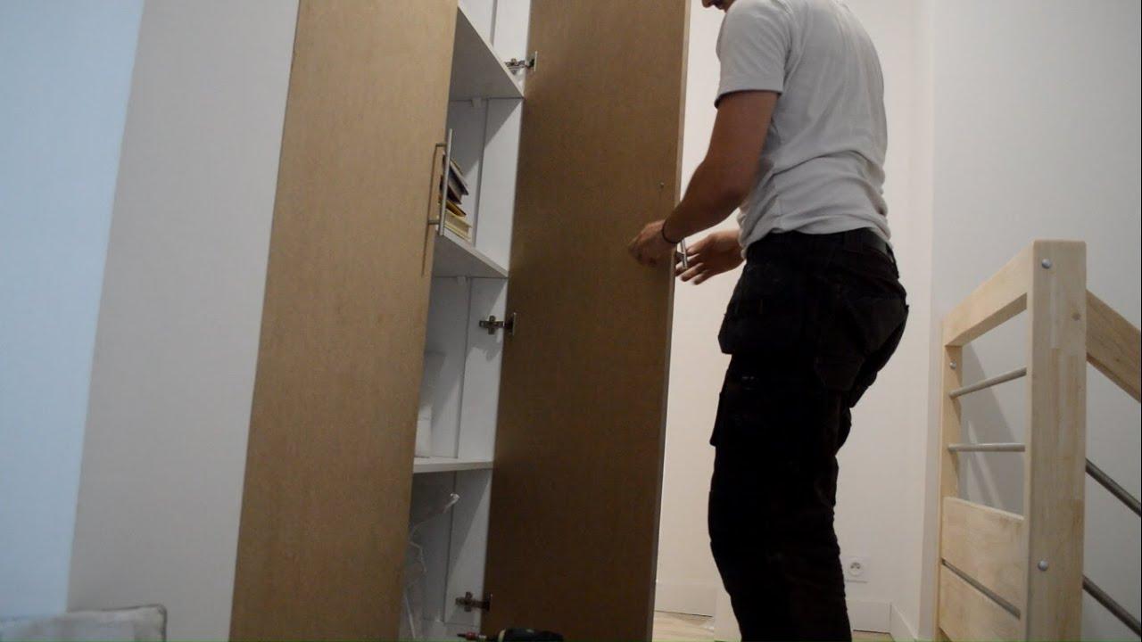 portes de placard battantes 120cm de large en mdf charnire invisible demi recouvrement youtube