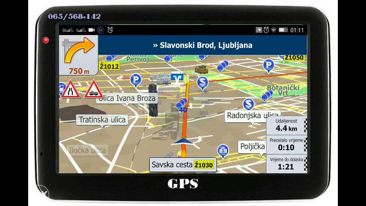 Gps Navigacija Prikaz Voznje Kroz Zagreb Hrvatska Youtube