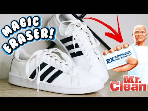 HOW TO CLEAN YOUR WHITE SHOES WITH MAGIC ERASER! | Cleaning my white Adidas