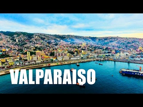 VALPARAISO - CHILE. Drone Aerial Footage - DJI Phantom 4 Drone Flying Over The City in 4k
