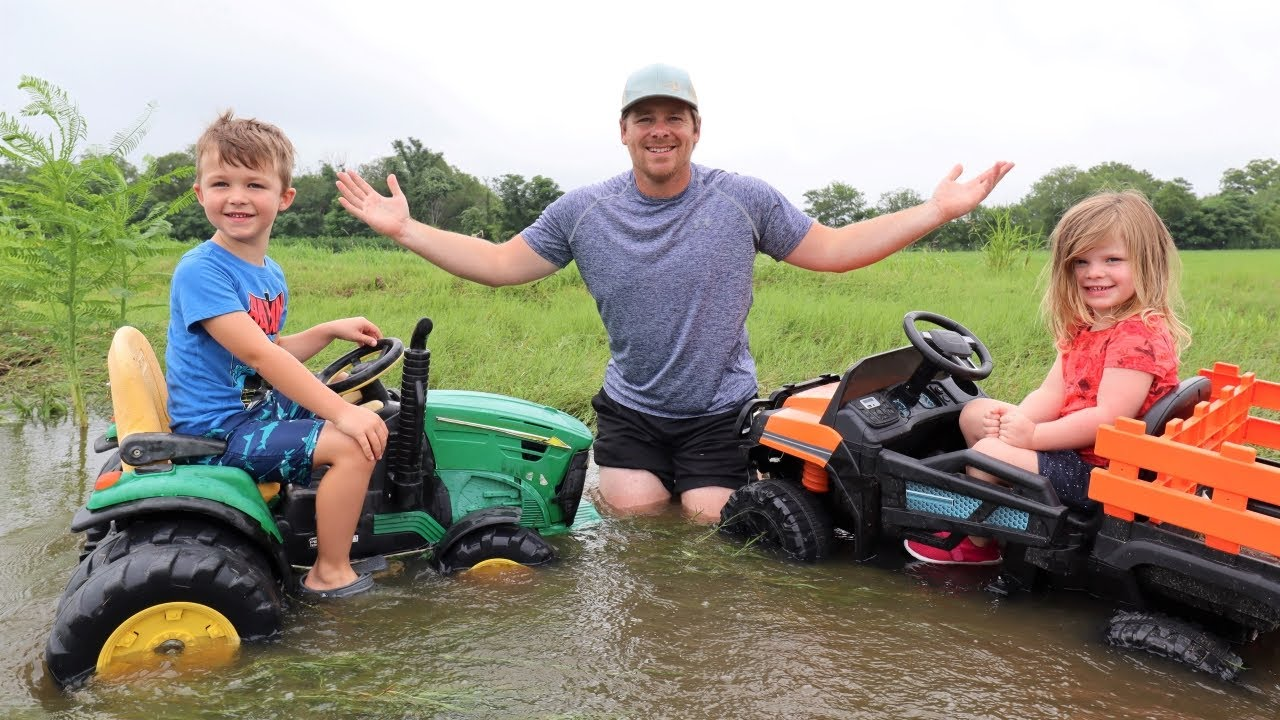 Saving our tractor from the deep water and mud | Tractors for kids