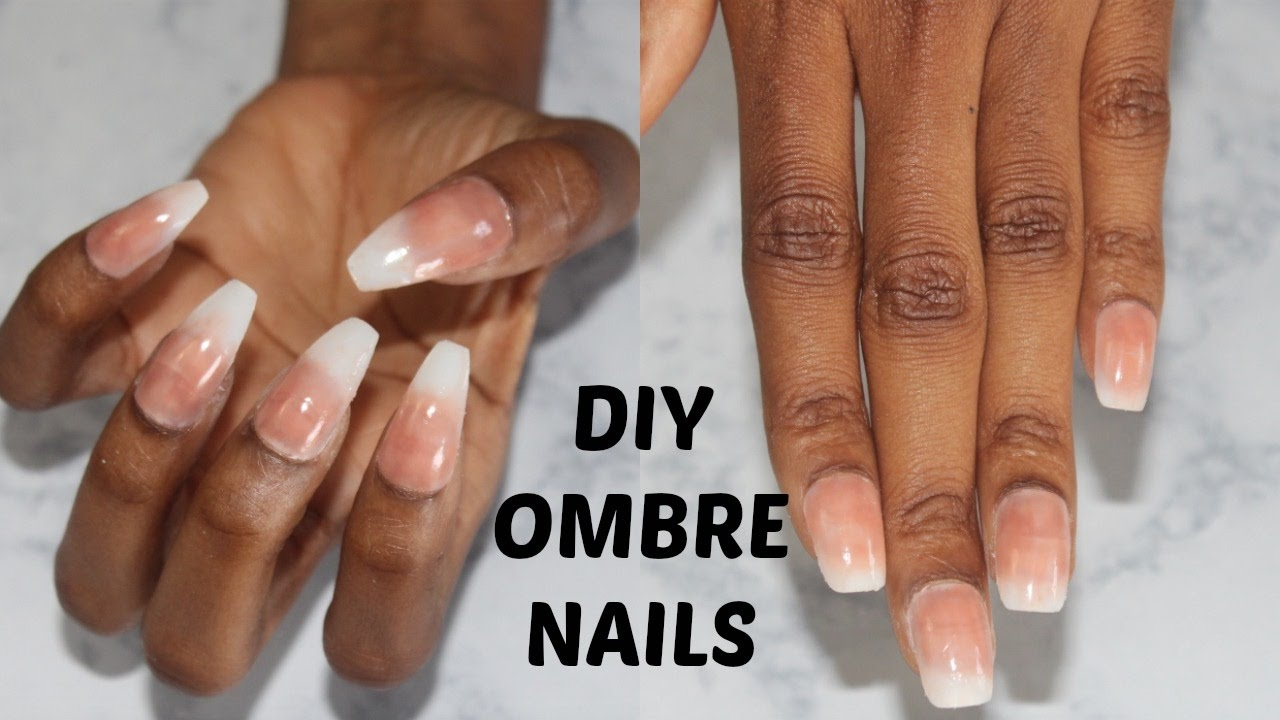 Diy Easy French Nails At Home No Acrylic Ombre Coffin Nails Hacks