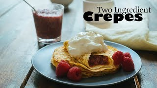 Two Ingredient Keto Crepes with Raspberry Jam