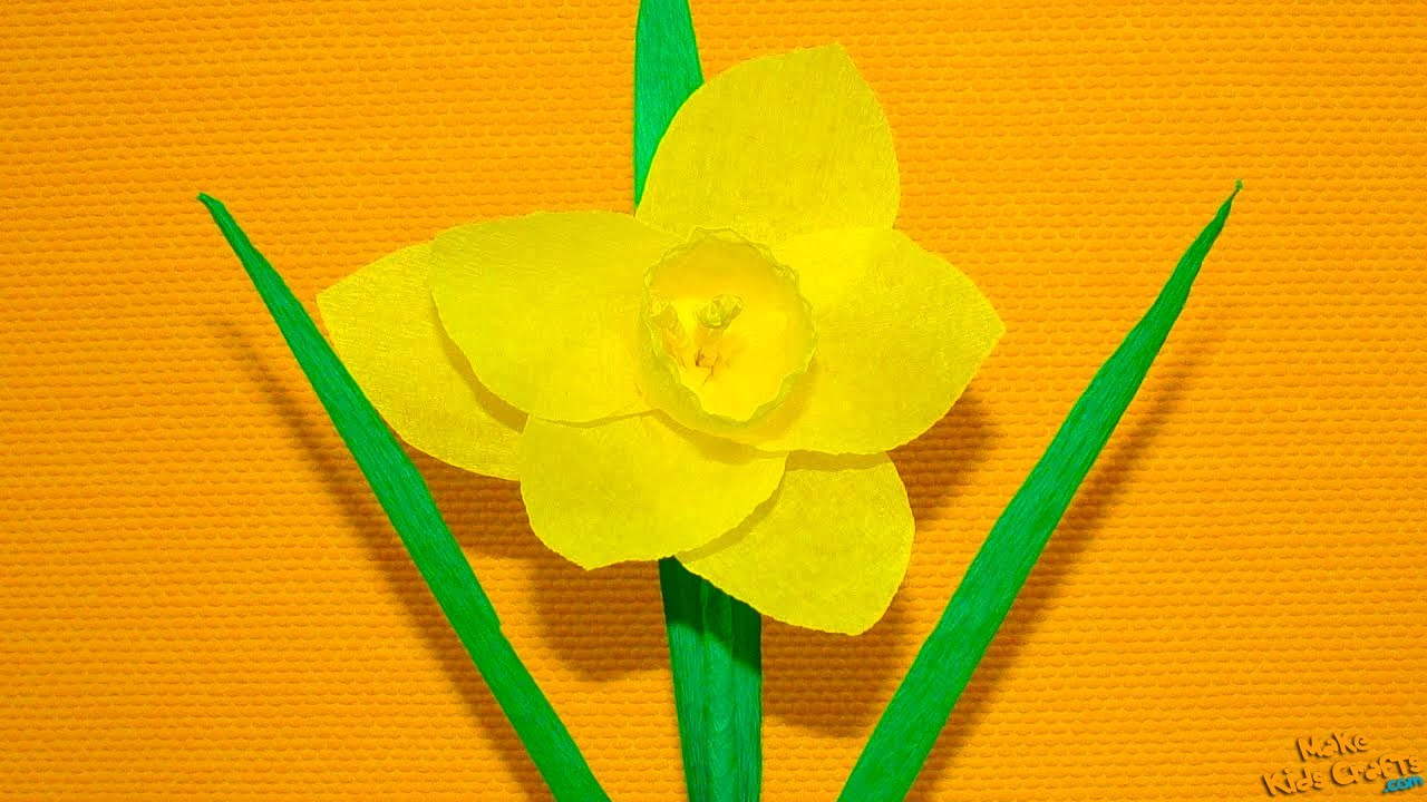How to make a paper flower daffodils diy youtube izmirmasajfo