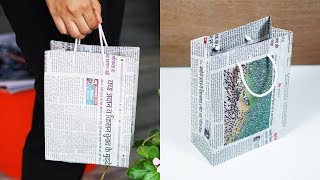 How to Make a Paper Bag with Newspaper - Paper Bag Making Tutorial 'Very Easy'