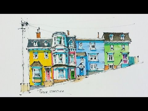 Line and Wash Watercolor Tutorial of Colorful Row Houses in St John's, Newfoundland. Peter Sheeler