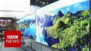 CES 2017  LG's super thin TV lies flat against the wall   BBC News