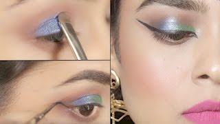 Blue/Green Smokey Eye Tutorial - Indian Jewel Tone Eye Makeup - By Makeup Artist Vibhuti