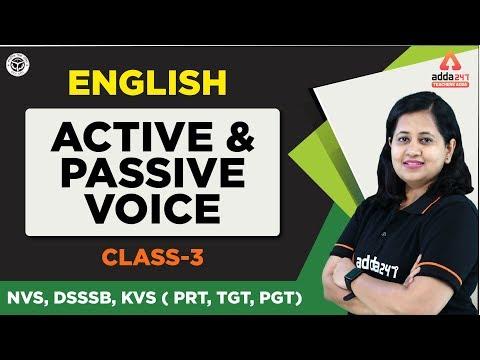 NVS, DSSSB, KVS ( PRT, TGT, PGT)  Exam 2019 | English | Active and Passive Voice  | Class 3 |  2 PM