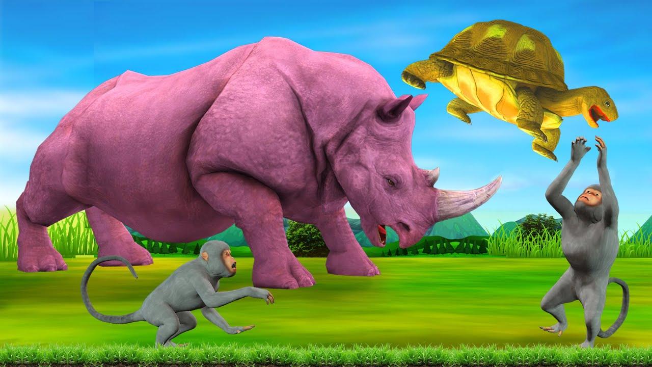 गैंडा कछुआ की दोस्ती और शरारती बंदर Rhinoceros kachhua aur Bandar ki Kahani - Hindi Kahaniya कहानी