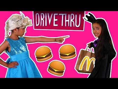 BURGERS STOLEN FROM MCDONALDS DRIVE THRU | Princess In Real Life | Kiddyzuzaa | Magic Food
