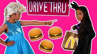 PRINCESS MCDONALDS DRIVE THRU - BURGERS STOLEN PRANK 🍔 Princesses In Real Life Magic Food Car Chase