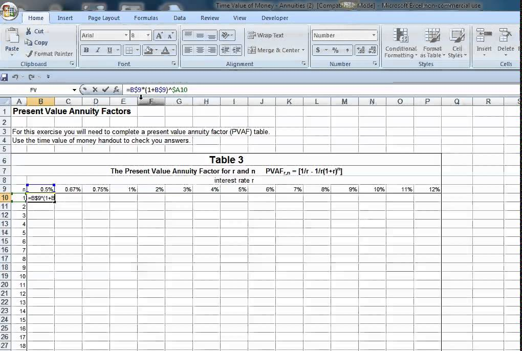Excel PV Annuity Factor Table Formula - YouTube