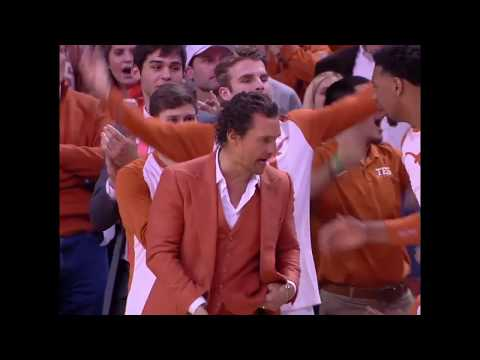 Matthew McConaughey in a burnt orange suit making sure Texas Men's Basketball is pumped up 👏👏