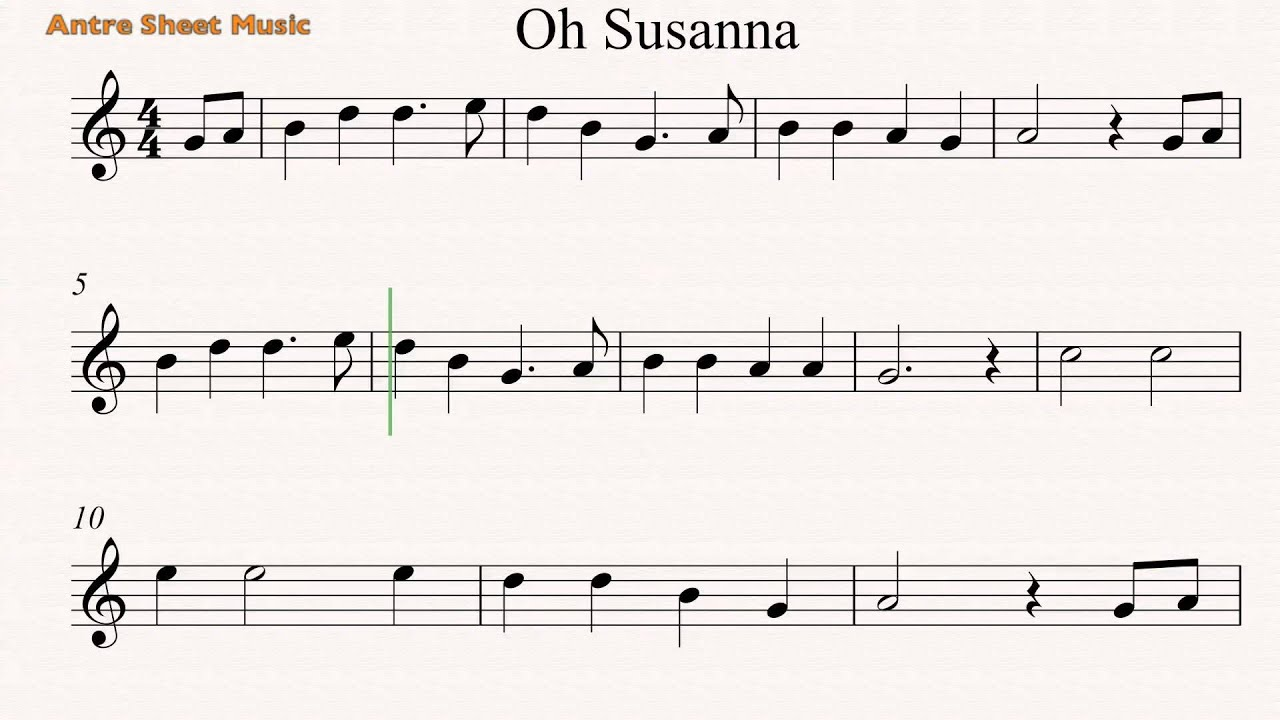 Oh Susanna Guitar Sheet Music Youtube