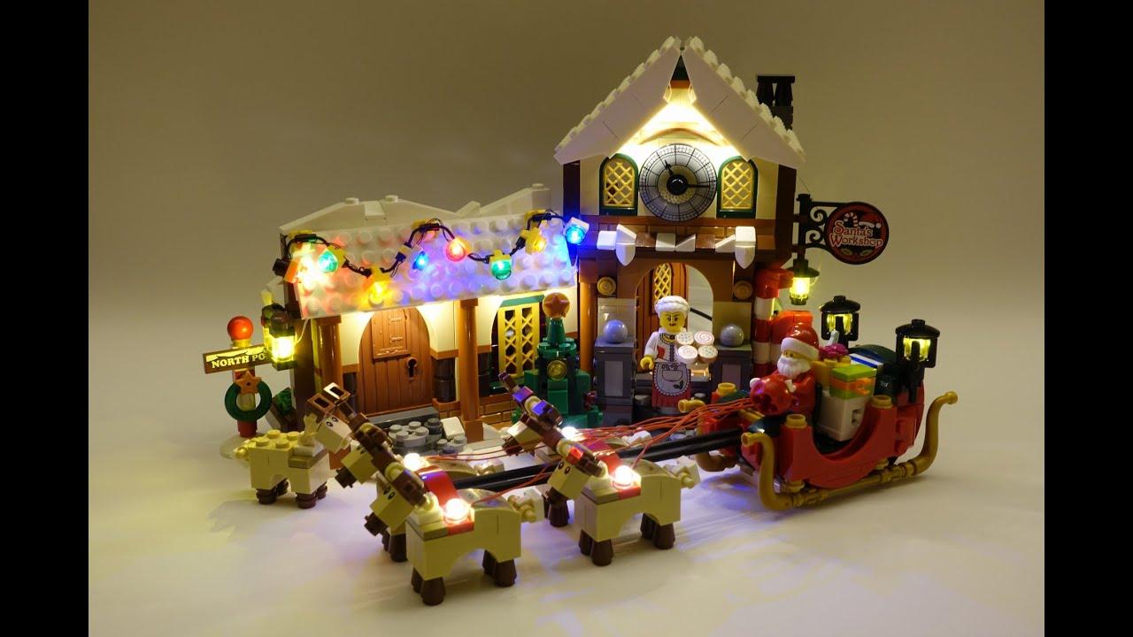 Lego 10245 Santa S Workshop Led Installed Demo Youtube