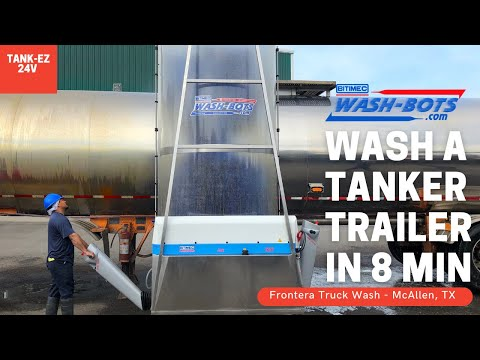 Washing a dirty tanker truck with Wash-Bots