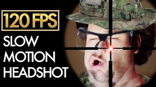 SLOW MOTION HEADSHOT - Airsoft Sniper Gameplay