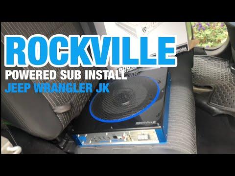 "10"" Rockville Powered Sub Jeep Wrangler install"