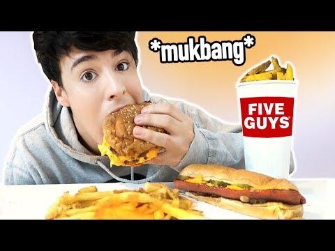 huge FIVE GUYS burger, hot dog & fries *MUKBANG*