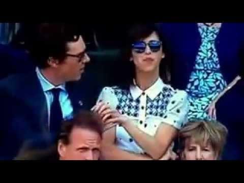 Sophie Hunter and Benedict Cumberbatch share a moment at Wimbledon Men's Finals 2016