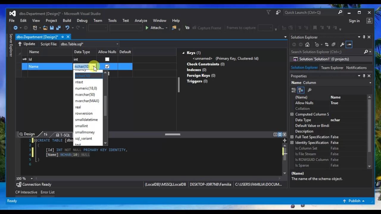 Visual Studio Local Database Create Tables