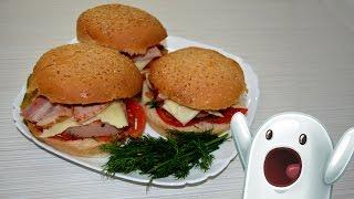 Сендвич с ветчиной и беконом, обьедение!!!