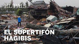 El supertifón HAGIBIS toca tierra en JAPÓN con lluvias torrenciales y vientos huracanados