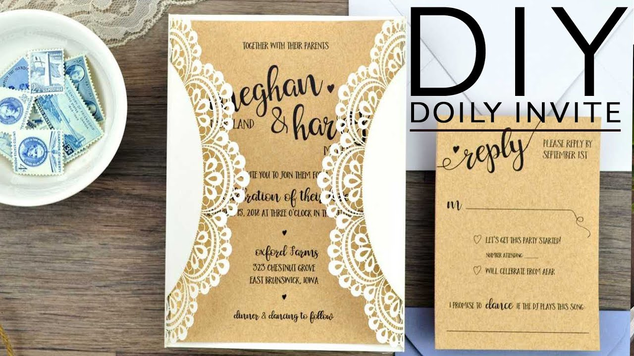 Diy Rustic Doily Wedding Invitations