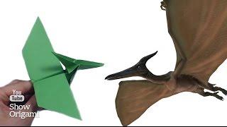 Как сделать оригами птеродактиля (птеранодона) из бумаги