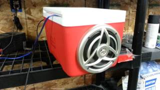 Cooler /  Ice Chest Stereo - Marine Speakers And Amp With Aux In Hook Up-  Country Song