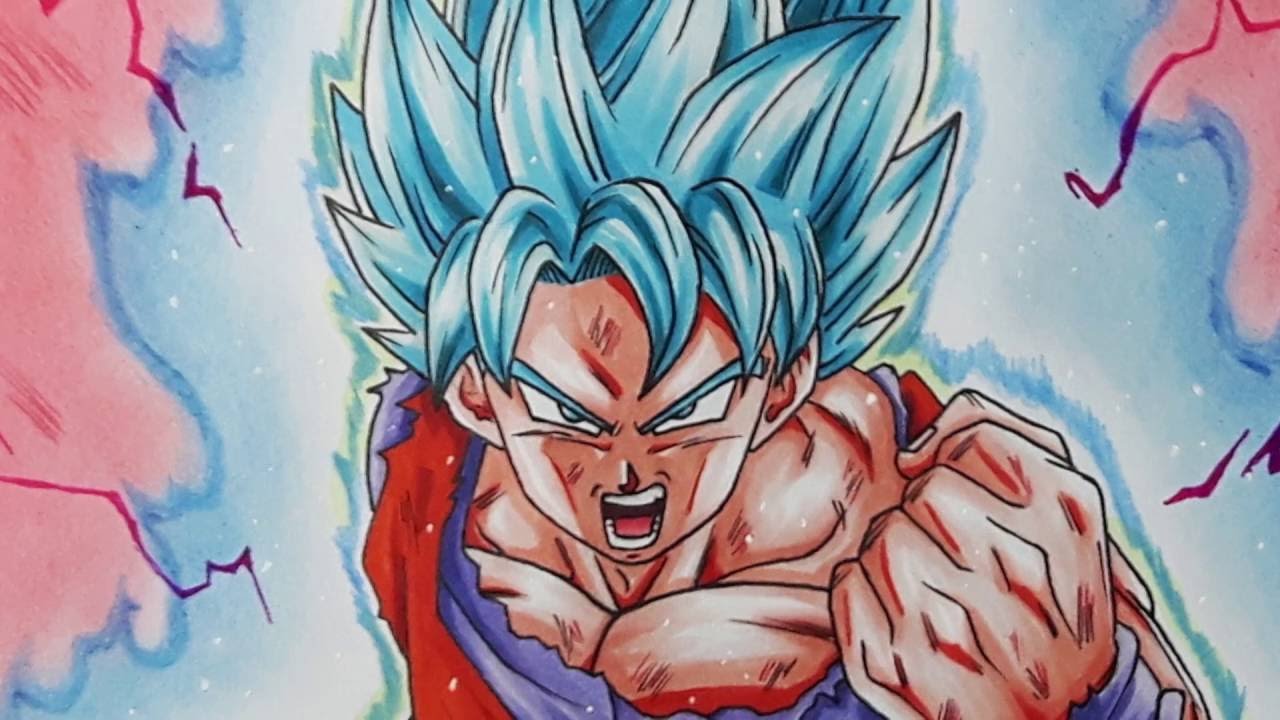 Drawing Goku Super Saiyan Blue Kaioken Times 10