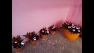 Как украсить террасу на Новый год и Рождество!Композиция в вазоне