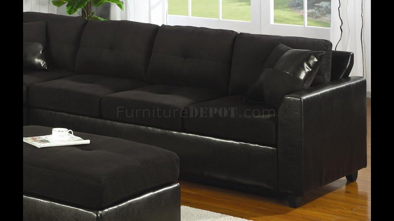 Black Microfiber Sectional Sofa