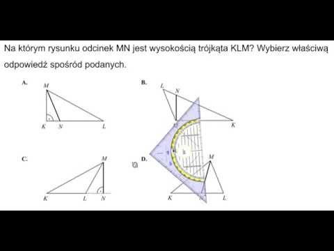 Na którym rysunku odcinek MN jest wysokością trójkąta?