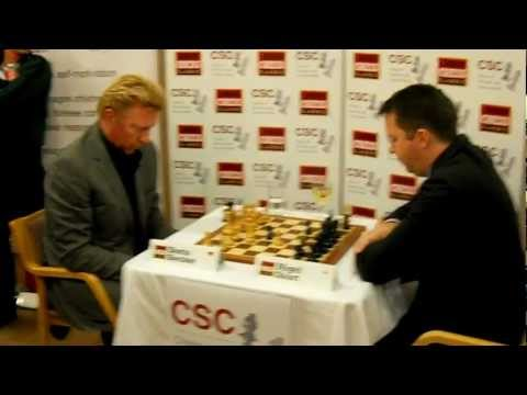 Celebrity Game: Boris Becker (Djokovic coach 2014!) Vs Nigel Short Chess Exhibition Match