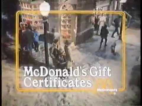 mcdonald's 1970s gift certificates commercial -