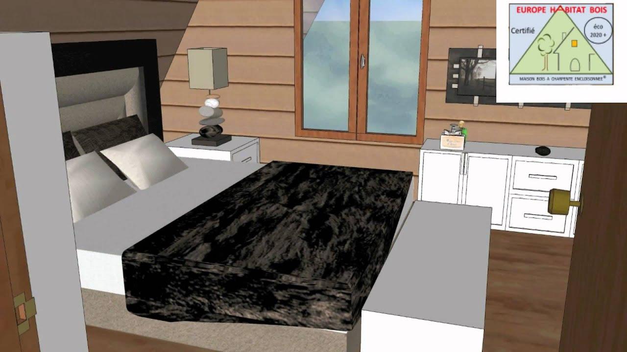 Maison bois passive charpente encloisonn e mod le 1 for Modele maison passive