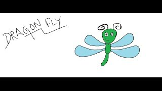 Easy Kids Drawing Lessons:How to Draw a Cartoon Dragonfly for KIDS