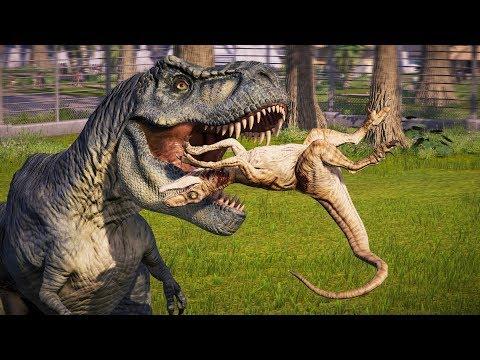 🌍 Jurassic World Evolution - Return to Jurassic Park Tyrannosaurus Rex Vs Raptors Breakout & Fight |